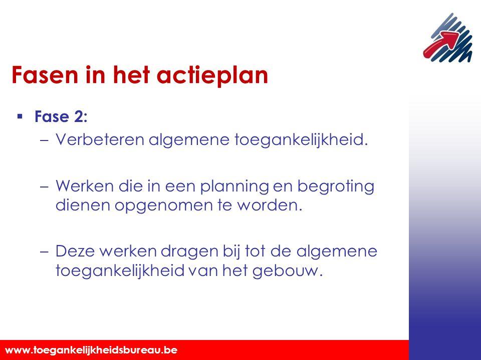 Fasen in het actieplan Fase 2: Verbeteren algemene toegankelijkheid.
