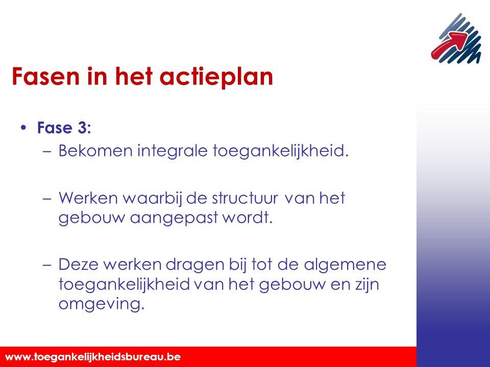 Fasen in het actieplan Fase 3: Bekomen integrale toegankelijkheid.