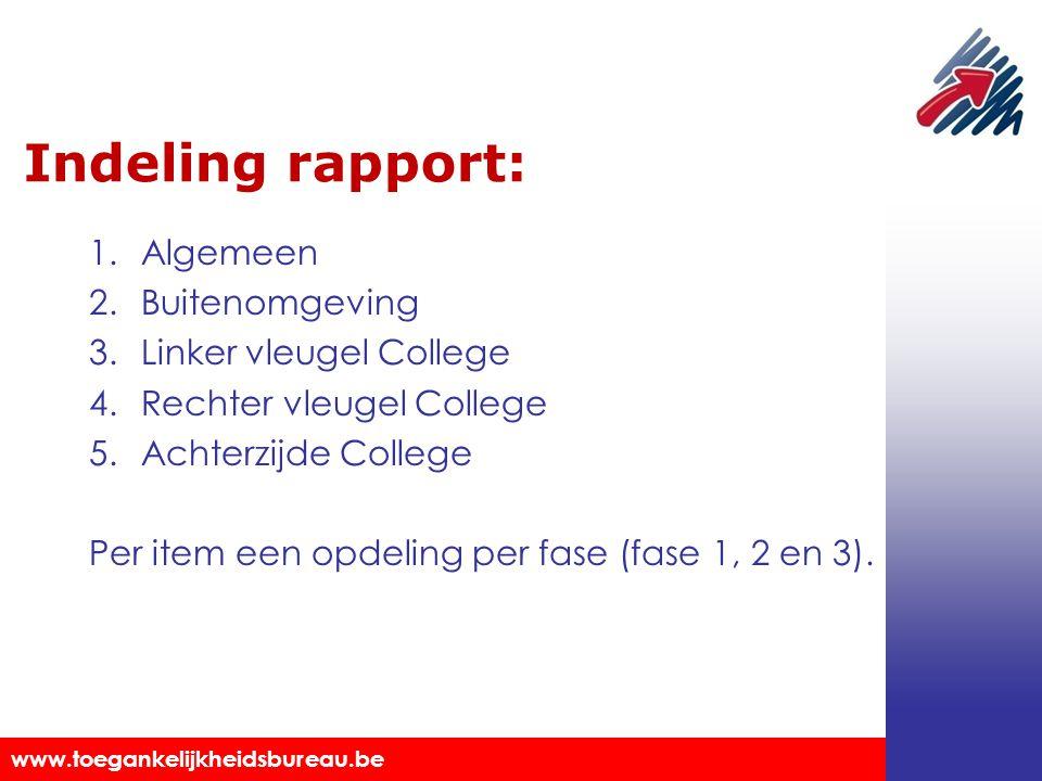 Indeling rapport: Algemeen Buitenomgeving Linker vleugel College