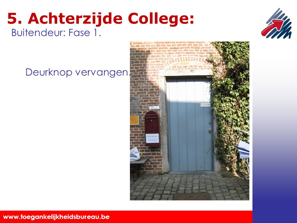 5. Achterzijde College: Buitendeur: Fase 1. Deurknop vervangen.