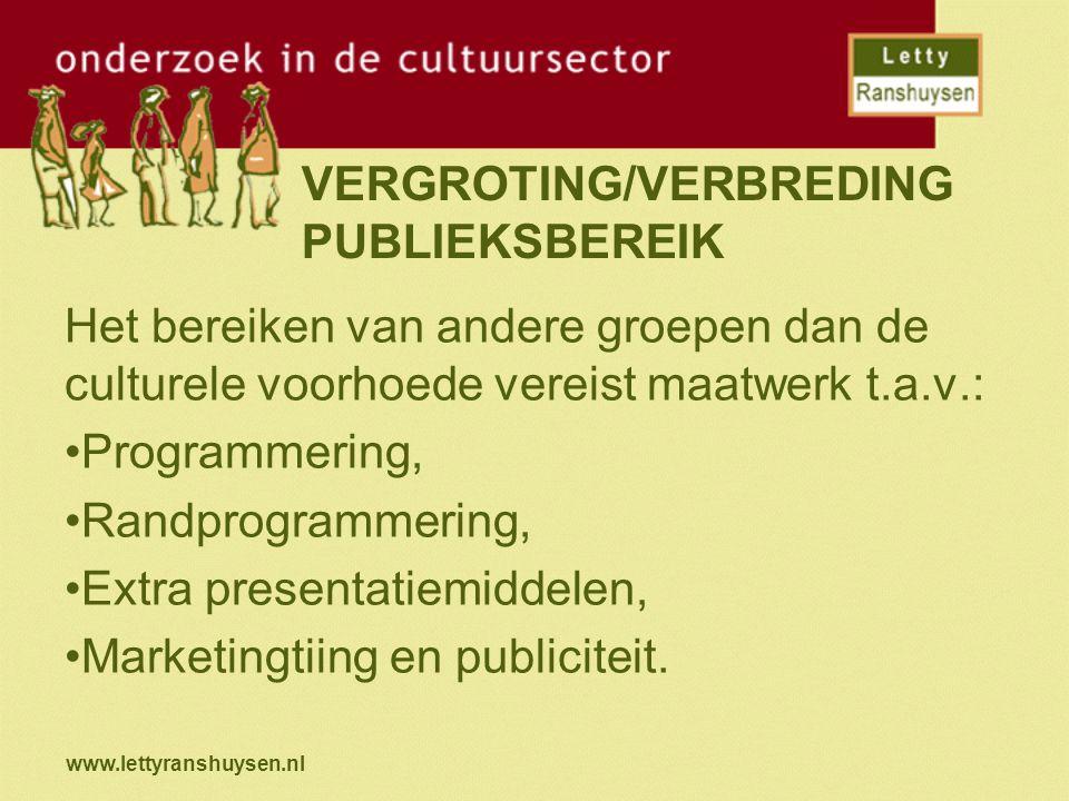 VERGROTING/VERBREDING PUBLIEKSBEREIK