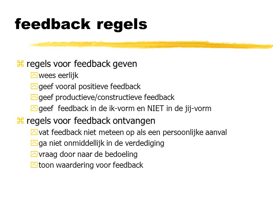 feedback regels regels voor feedback geven