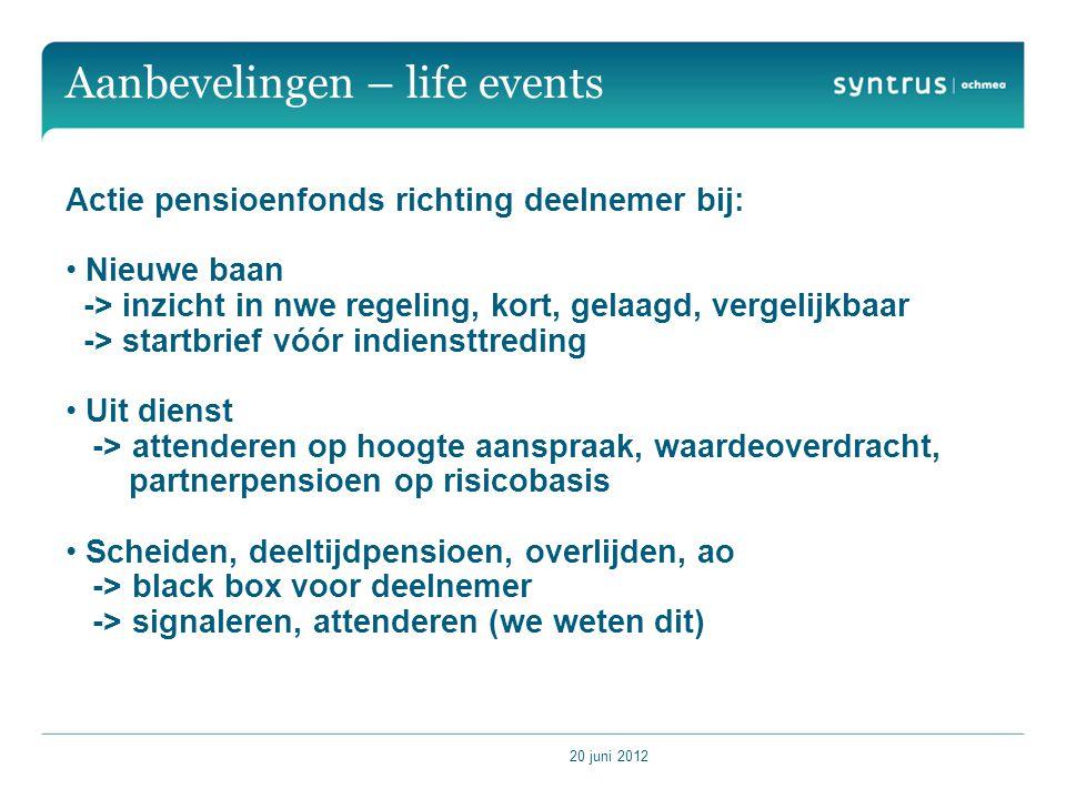 Aanbevelingen – life events