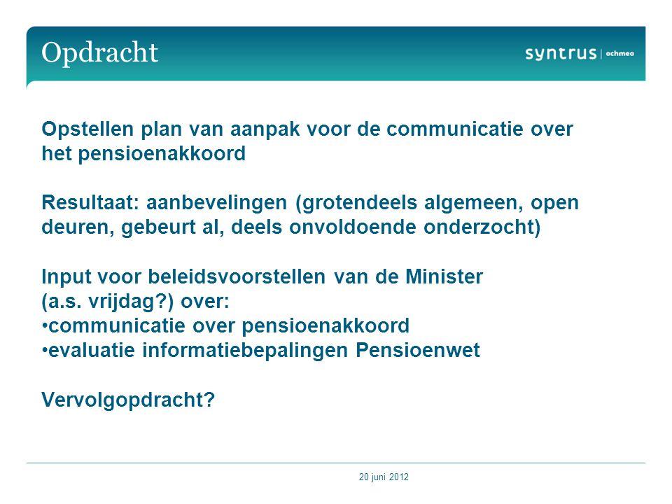 Opdracht Opstellen plan van aanpak voor de communicatie over het pensioenakkoord.