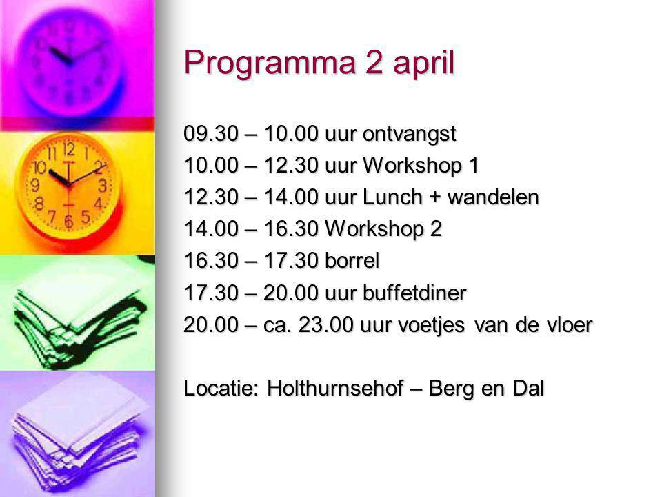 Programma 2 april 09.30 – 10.00 uur ontvangst