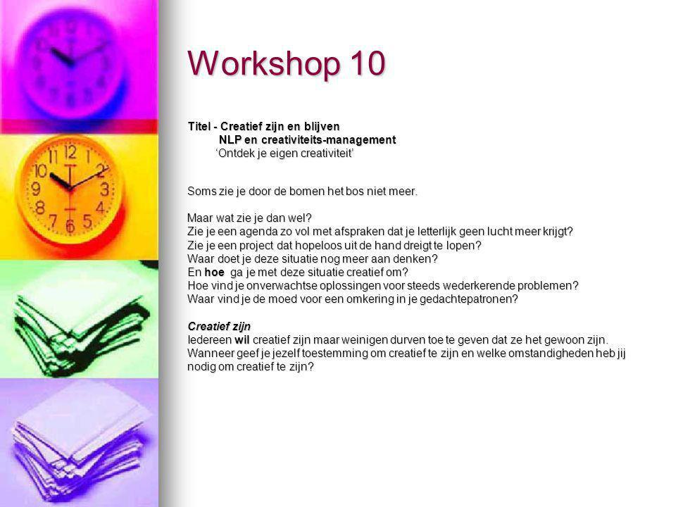 Workshop 10 Titel - Creatief zijn en blijven