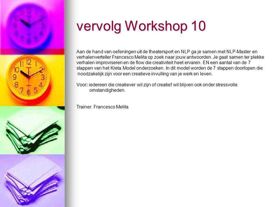 vervolg Workshop 10 Aan de hand van oefeningen uit de theatersport en NLP ga je samen met NLP-Master en.