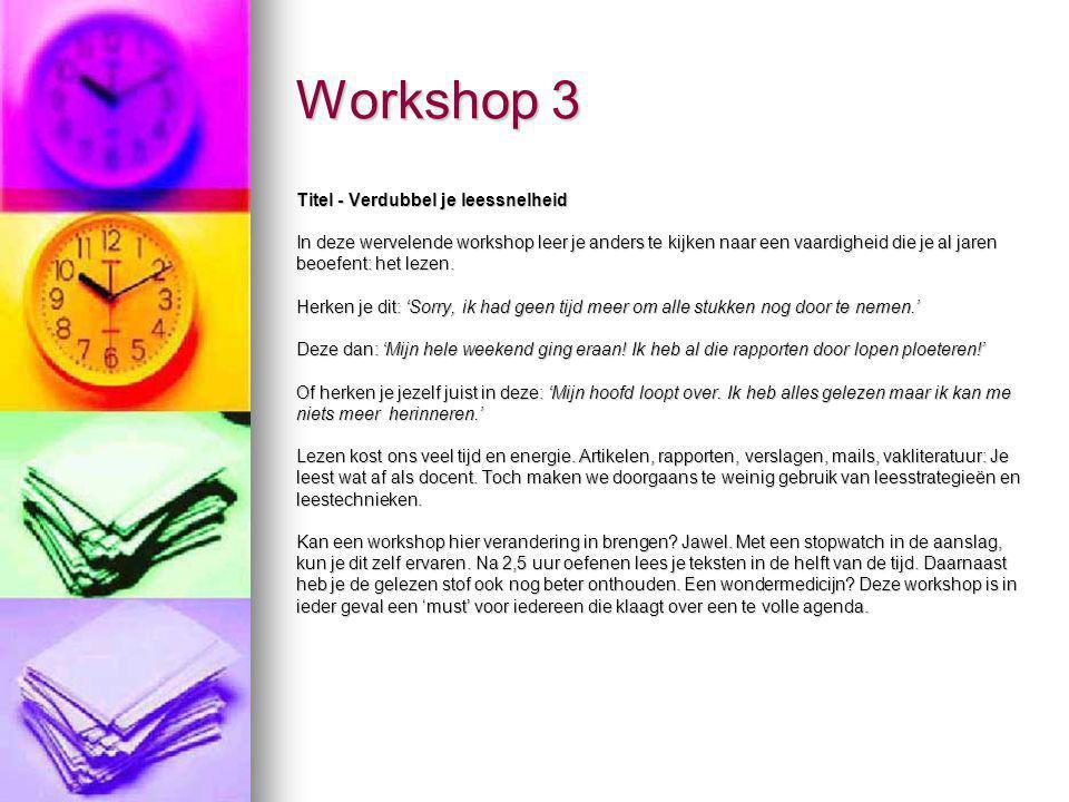 Workshop 3 Titel - Verdubbel je leessnelheid