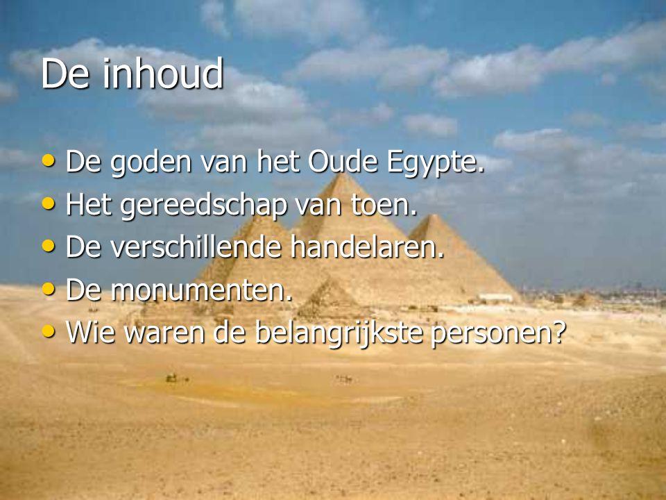 De inhoud De goden van het Oude Egypte. Het gereedschap van toen.