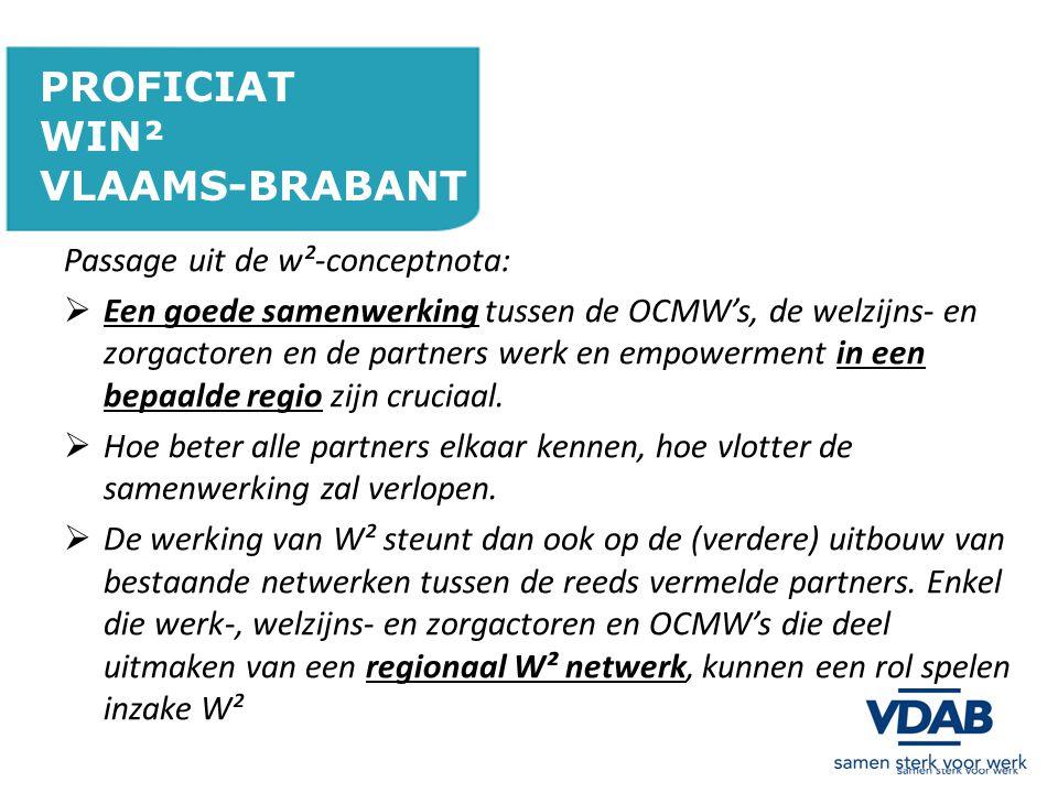 PROFICIAT WIN² VLAAMS-BRABANT Passage uit de w²-conceptnota:
