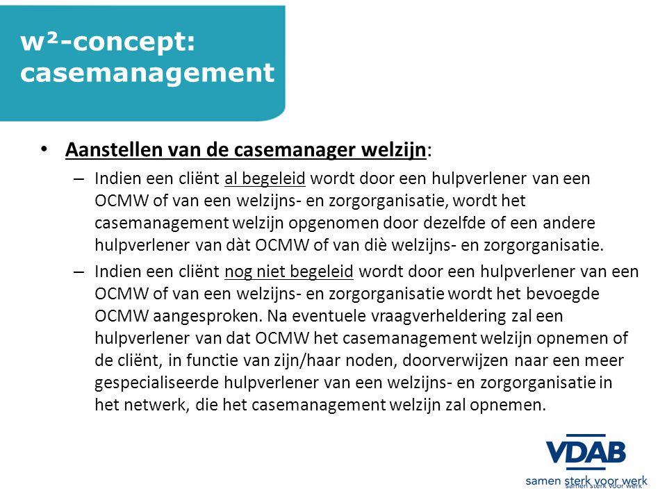 w²-concept: casemanagement Aanstellen van de casemanager welzijn: