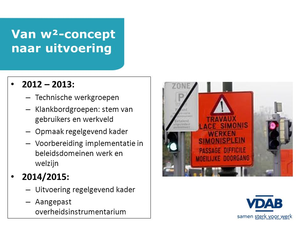 Van w²-concept naar uitvoering 2012 – 2013: 2014/2015:
