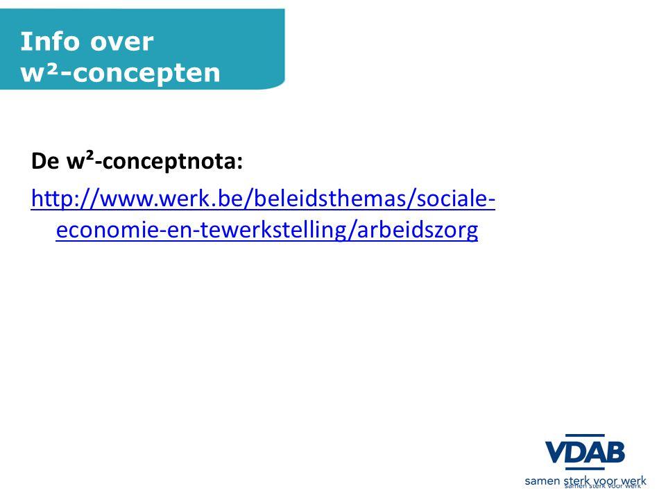 Info over w²-concepten De w²-conceptnota: