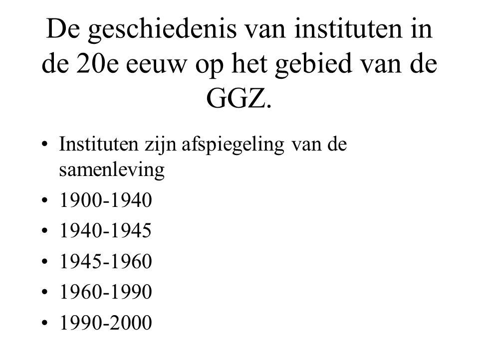 De geschiedenis van instituten in de 20e eeuw op het gebied van de GGZ.