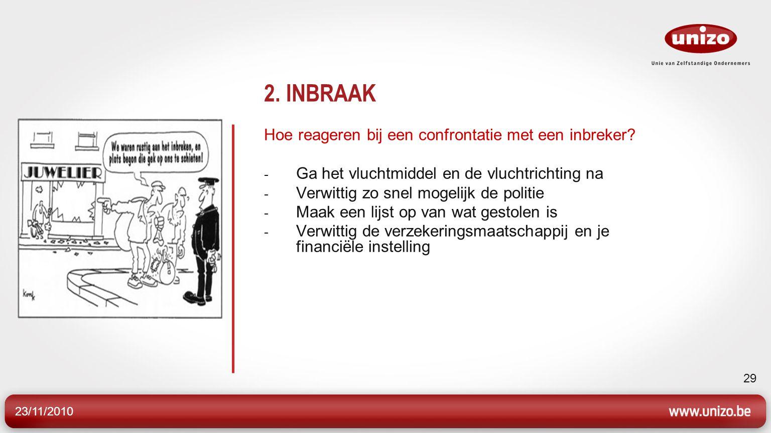 2. INBRAAK Hoe reageren bij een confrontatie met een inbreker