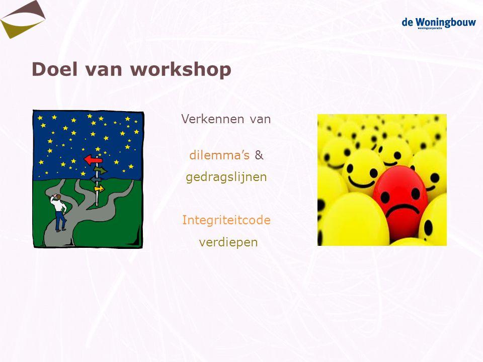 Doel van workshop Verkennen van dilemma's & gedragslijnen