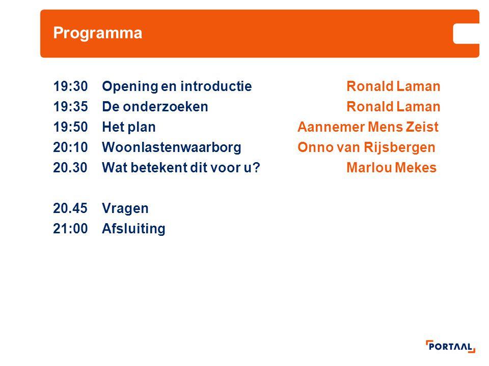 Programma 19:30 Opening en introductie Ronald Laman