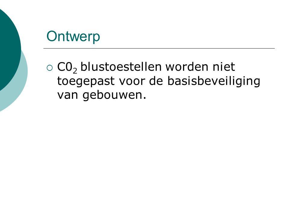 Ontwerp C02 blustoestellen worden niet toegepast voor de basisbeveiliging van gebouwen.