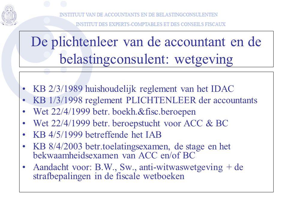 De plichtenleer van de accountant en de belastingconsulent: wetgeving
