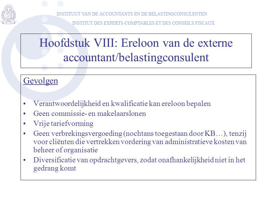 Hoofdstuk VIII: Ereloon van de externe accountant/belastingconsulent
