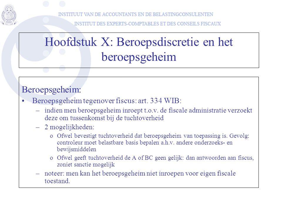 Hoofdstuk X: Beroepsdiscretie en het beroepsgeheim