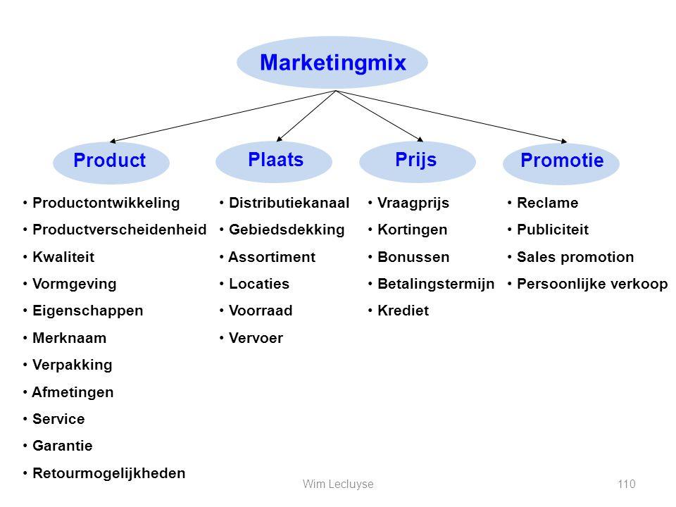 Marketingmix Product Plaats Prijs Promotie Productontwikkeling