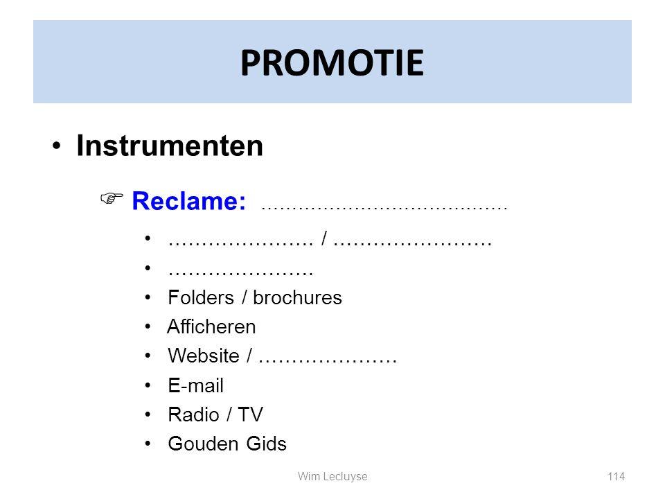 PROMOTIE Instrumenten Reclame: …………………. / …………………… ………………….