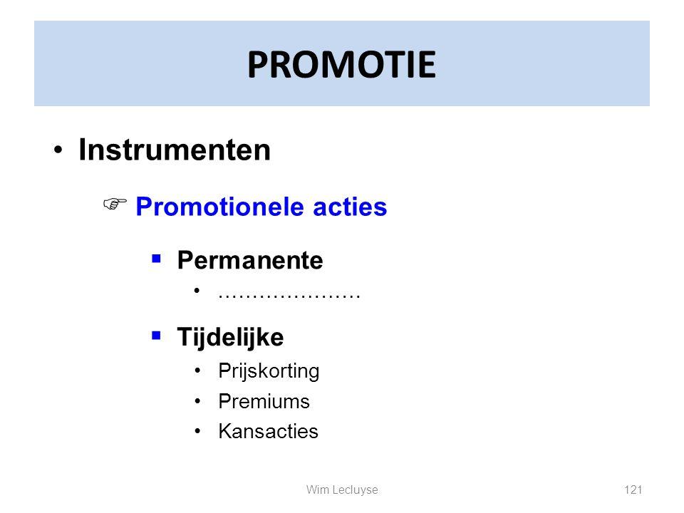 PROMOTIE Instrumenten Permanente Tijdelijke Promotionele acties