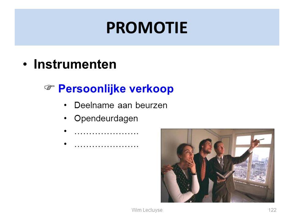 PROMOTIE Instrumenten Persoonlijke verkoop Deelname aan beurzen