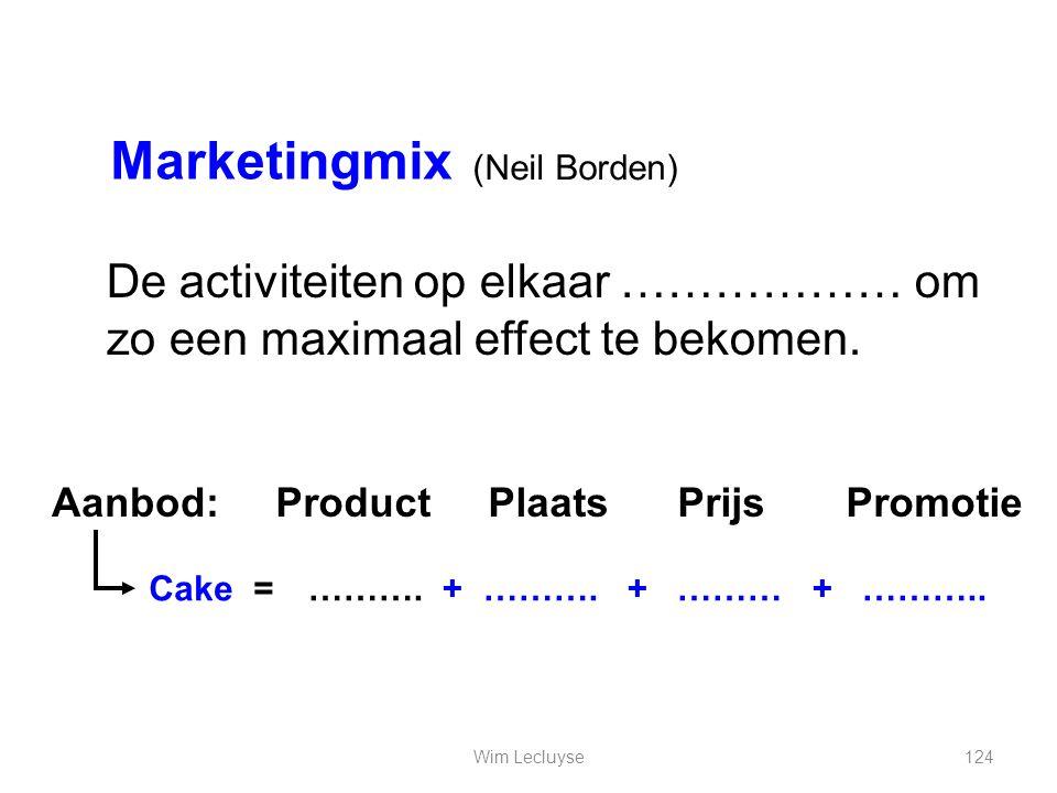 Marketingmix (Neil Borden) De activiteiten op elkaar ……………… om zo een maximaal effect te bekomen. Aanbod:
