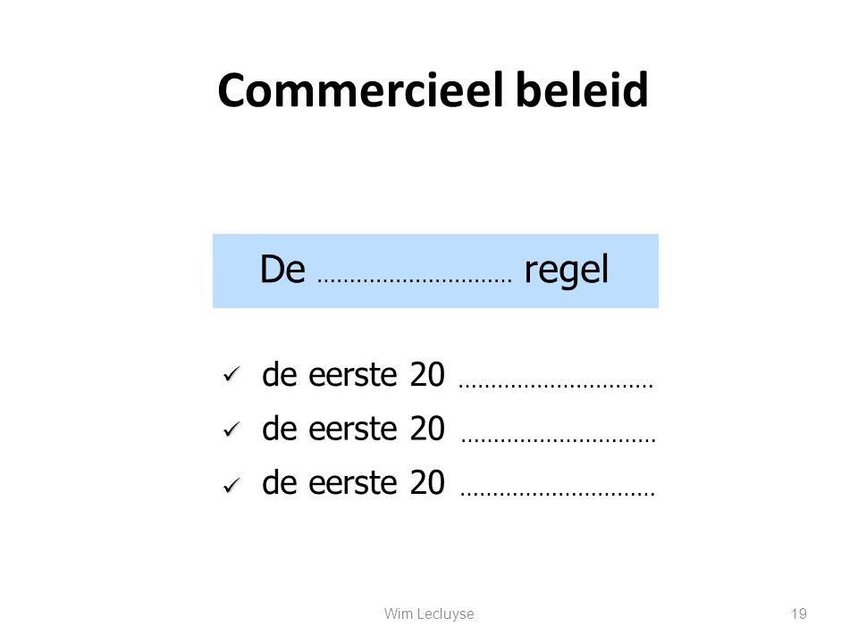Commercieel beleid De ………………………… regel de eerste 20 de eerste 20