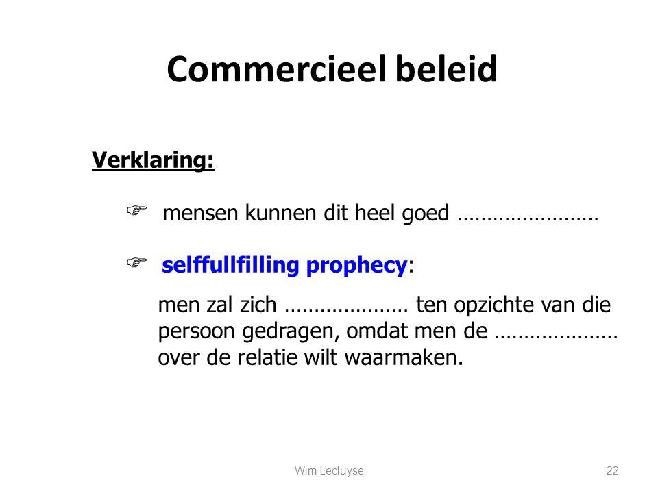 Commercieel beleid Verklaring: mensen kunnen dit heel goed ……………………