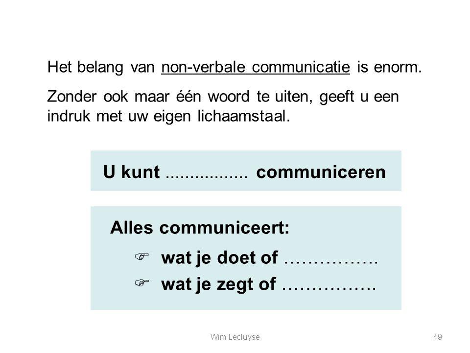 U kunt ................. communiceren Alles communiceert:
