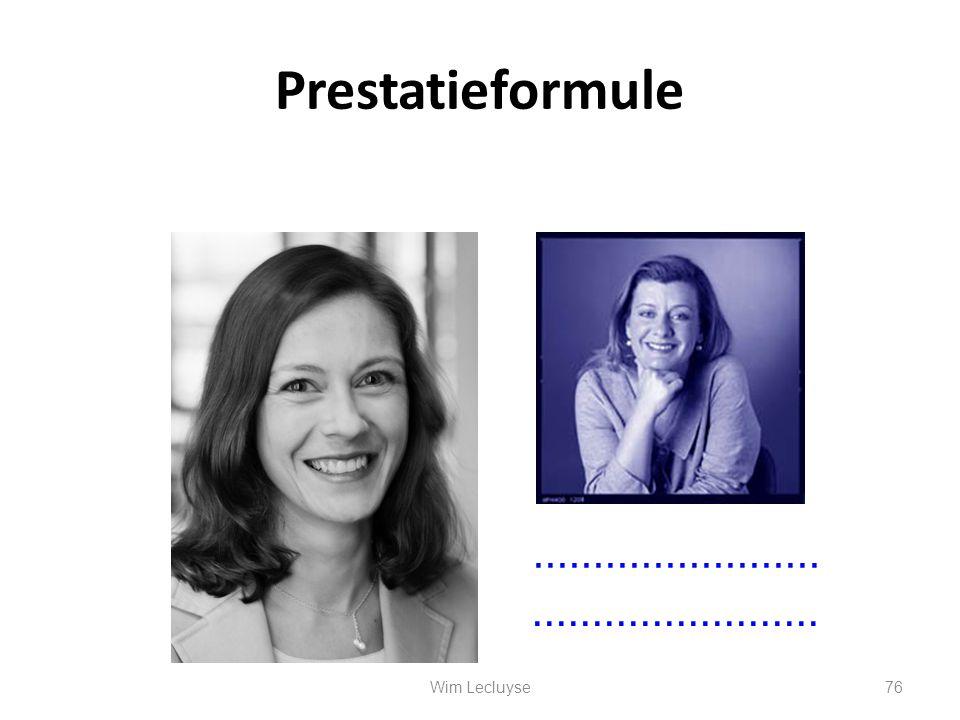 Prestatieformule …………………… …………………… Wim Lecluyse