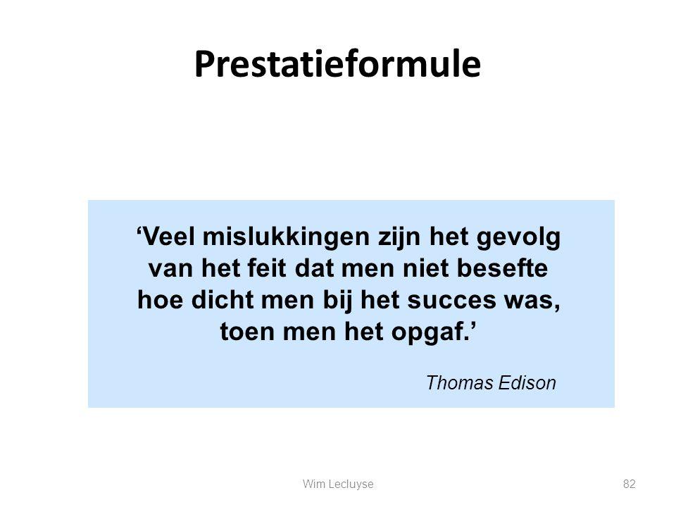 Prestatieformule 'Veel mislukkingen zijn het gevolg van het feit dat men niet besefte hoe dicht men bij het succes was, toen men het opgaf.'