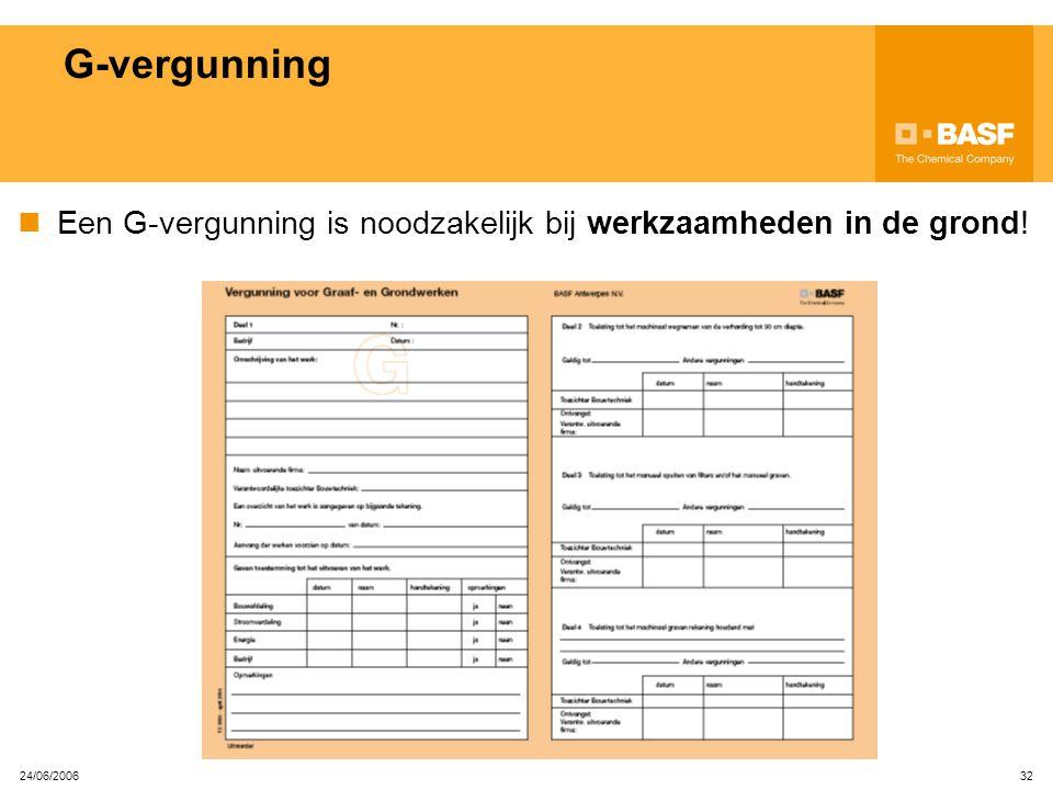 G-vergunning Een G-vergunning is noodzakelijk bij werkzaamheden in de grond! 24/06/2006