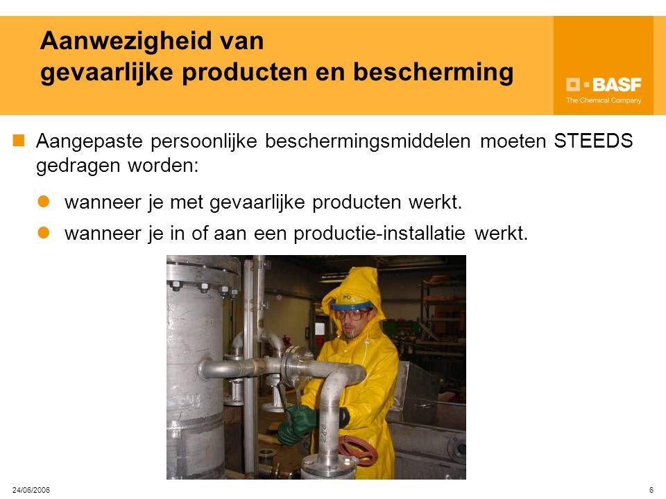 Aanwezigheid van gevaarlijke producten en bescherming
