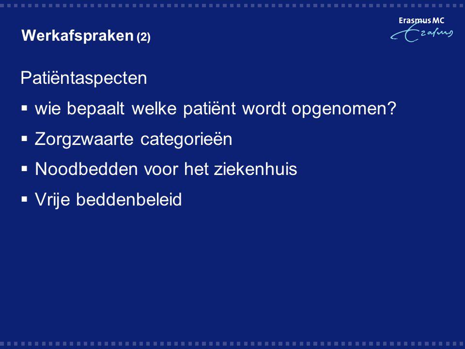 wie bepaalt welke patiënt wordt opgenomen Zorgzwaarte categorieën