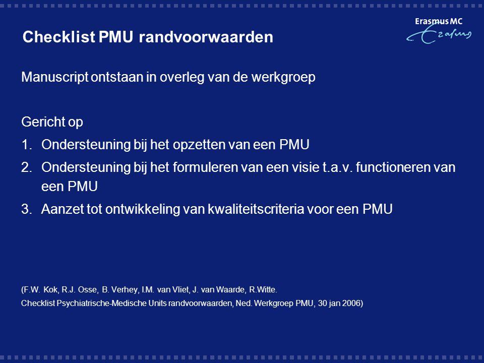 Checklist PMU randvoorwaarden