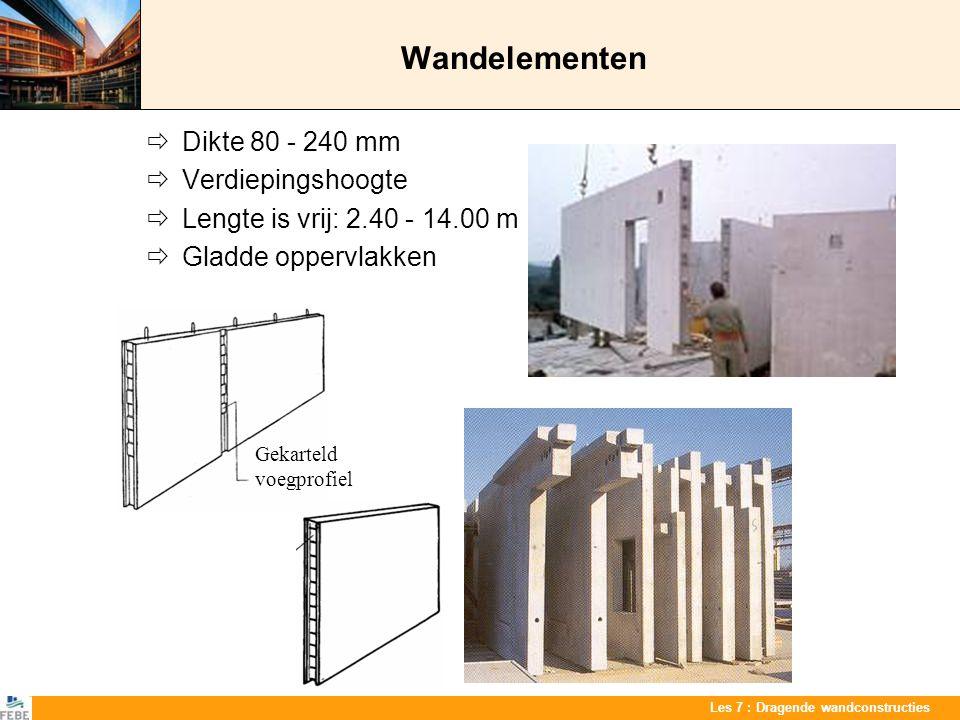 Wandelementen  Dikte 80 - 240 mm  Verdiepingshoogte