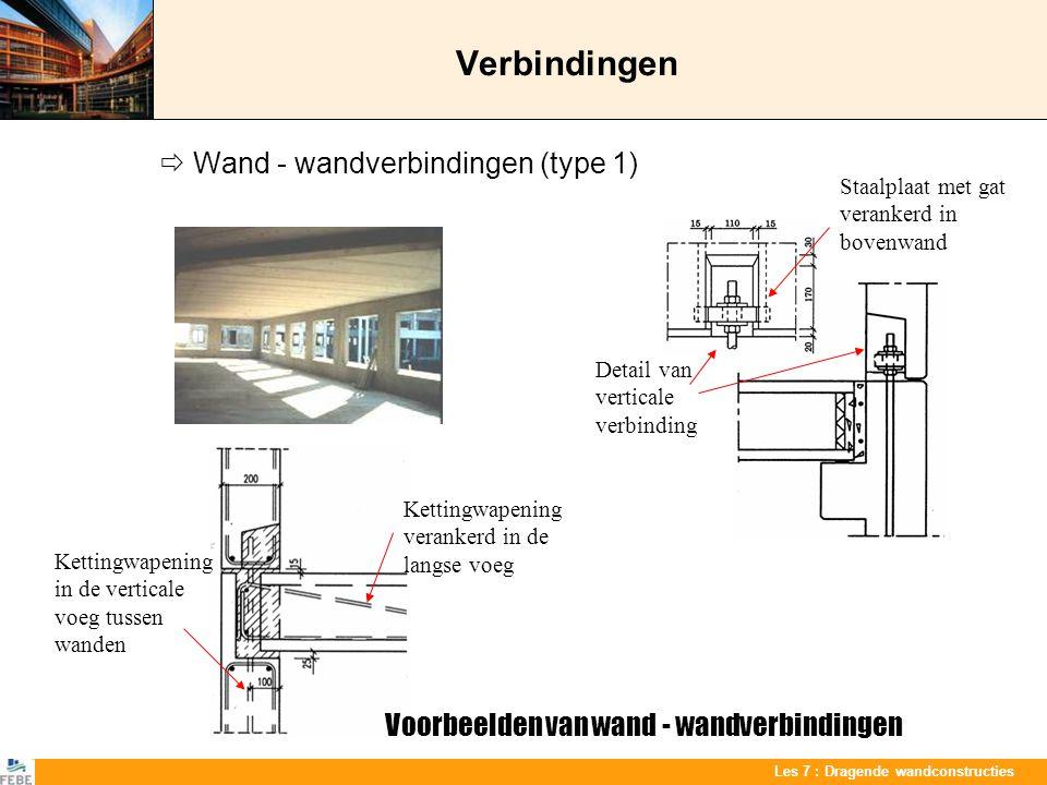 Verbindingen  Wand - wandverbindingen (type 1)