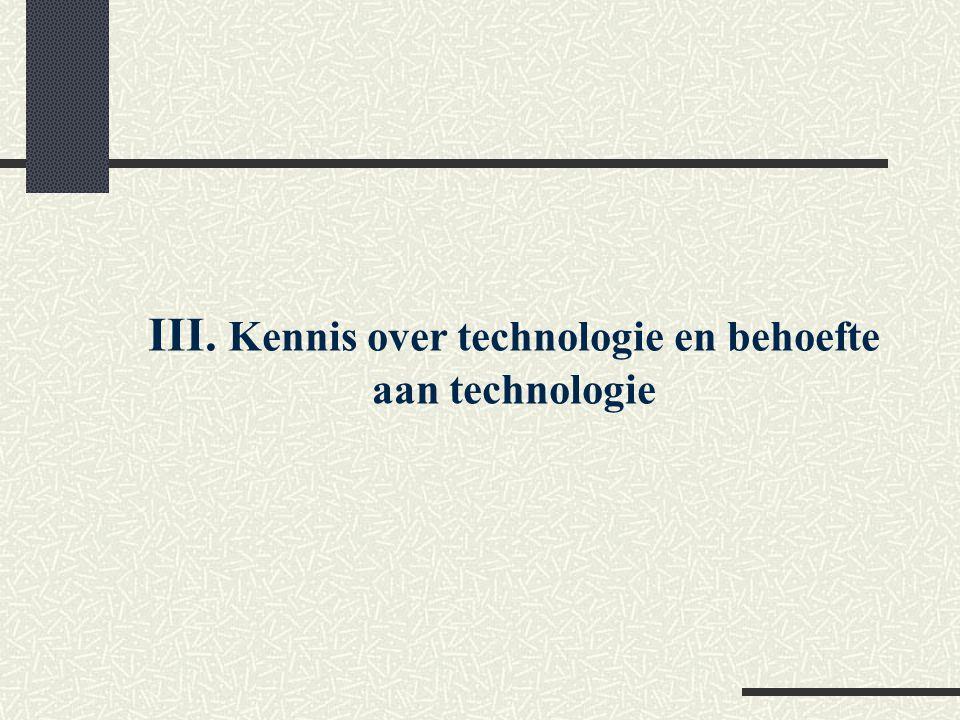 III. Kennis over technologie en behoefte aan technologie