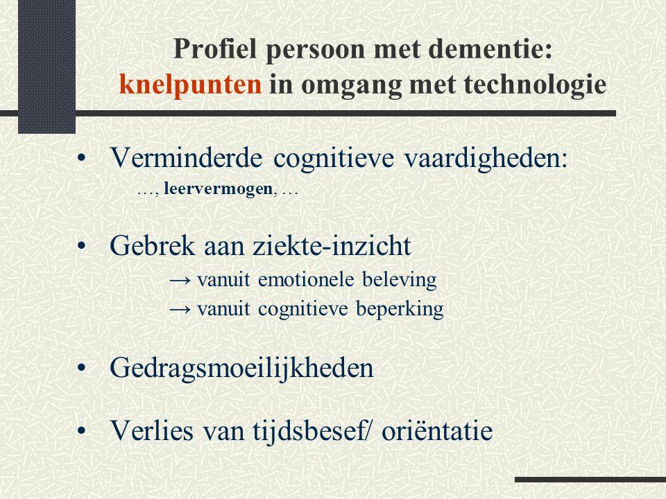 Profiel persoon met dementie: knelpunten in omgang met technologie