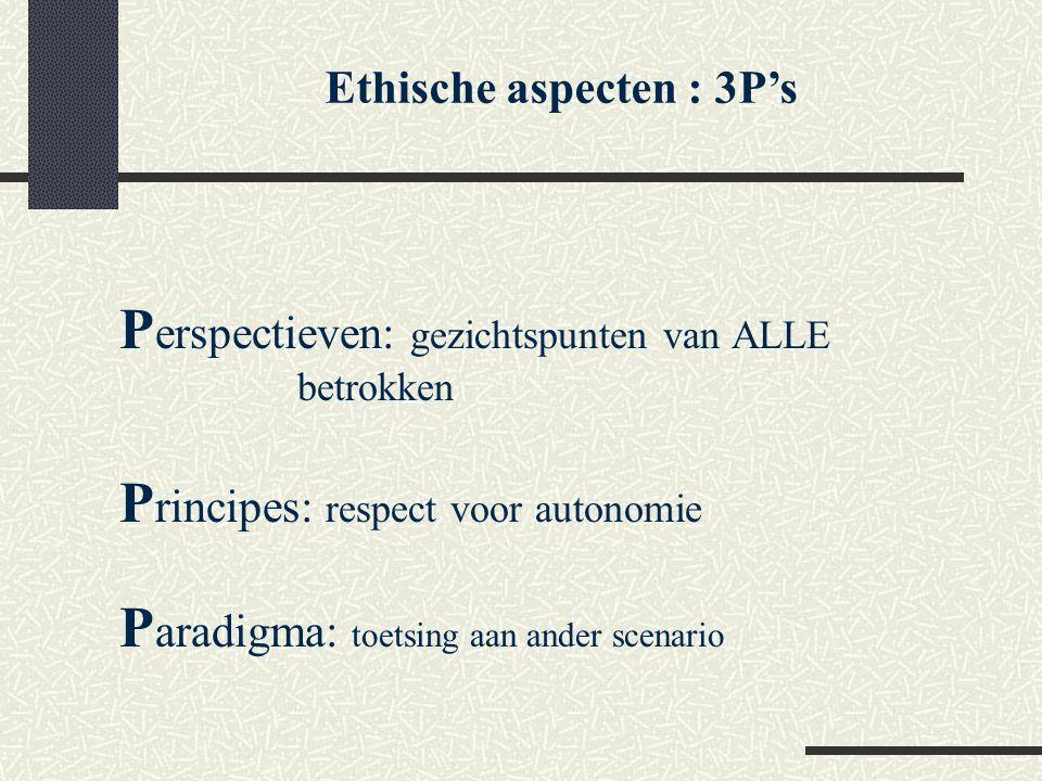 Ethische aspecten : 3P's