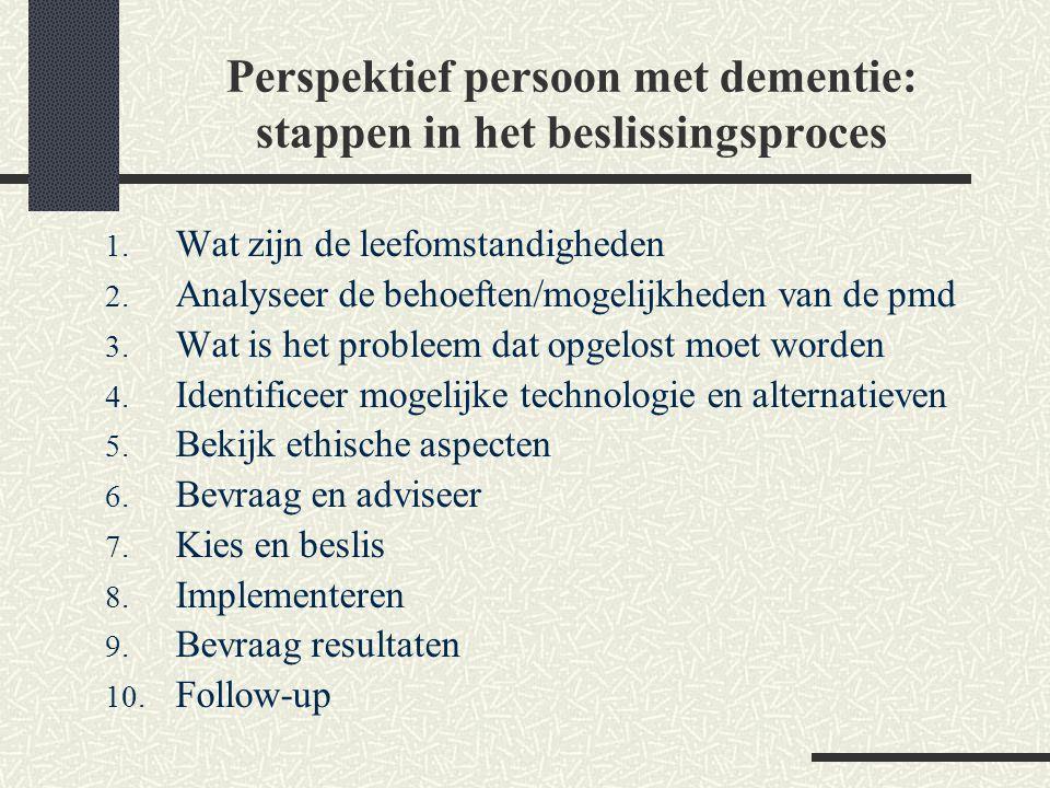 Perspektief persoon met dementie: stappen in het beslissingsproces