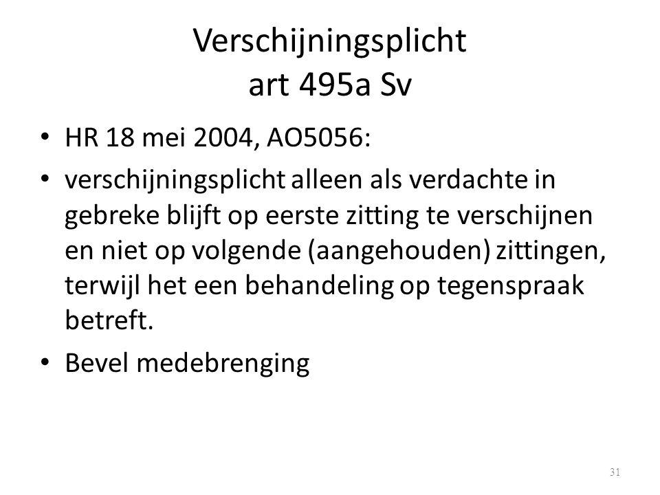 Verschijningsplicht art 495a Sv