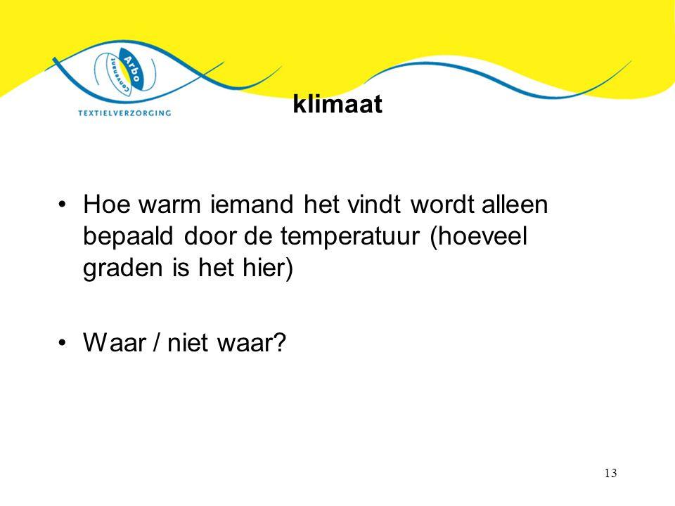 klimaat Hoe warm iemand het vindt wordt alleen bepaald door de temperatuur (hoeveel graden is het hier)