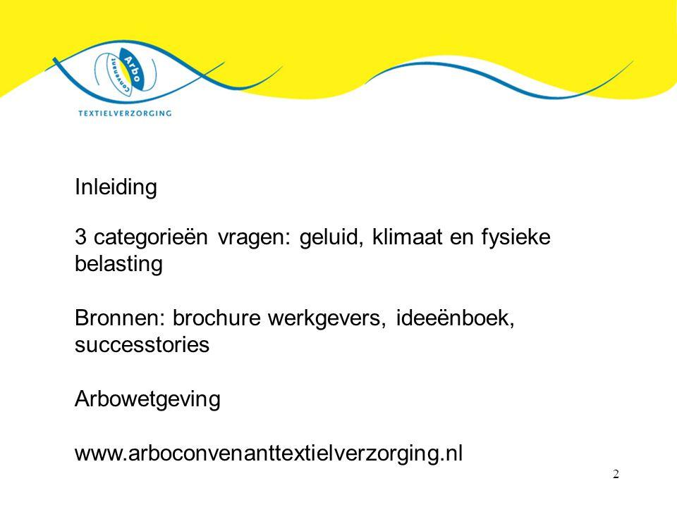 Inleiding 3 categorieën vragen: geluid, klimaat en fysieke belasting. Bronnen: brochure werkgevers, ideeënboek, successtories.