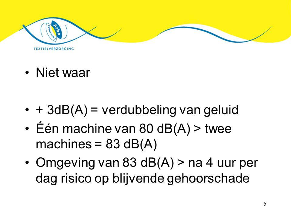 Niet waar + 3dB(A) = verdubbeling van geluid. Één machine van 80 dB(A) > twee machines = 83 dB(A)