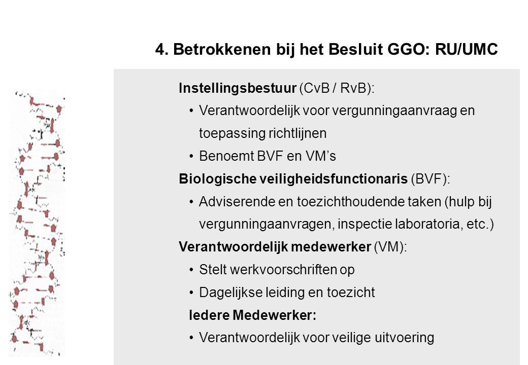 4. Betrokkenen bij het Besluit GGO: RU/UMC